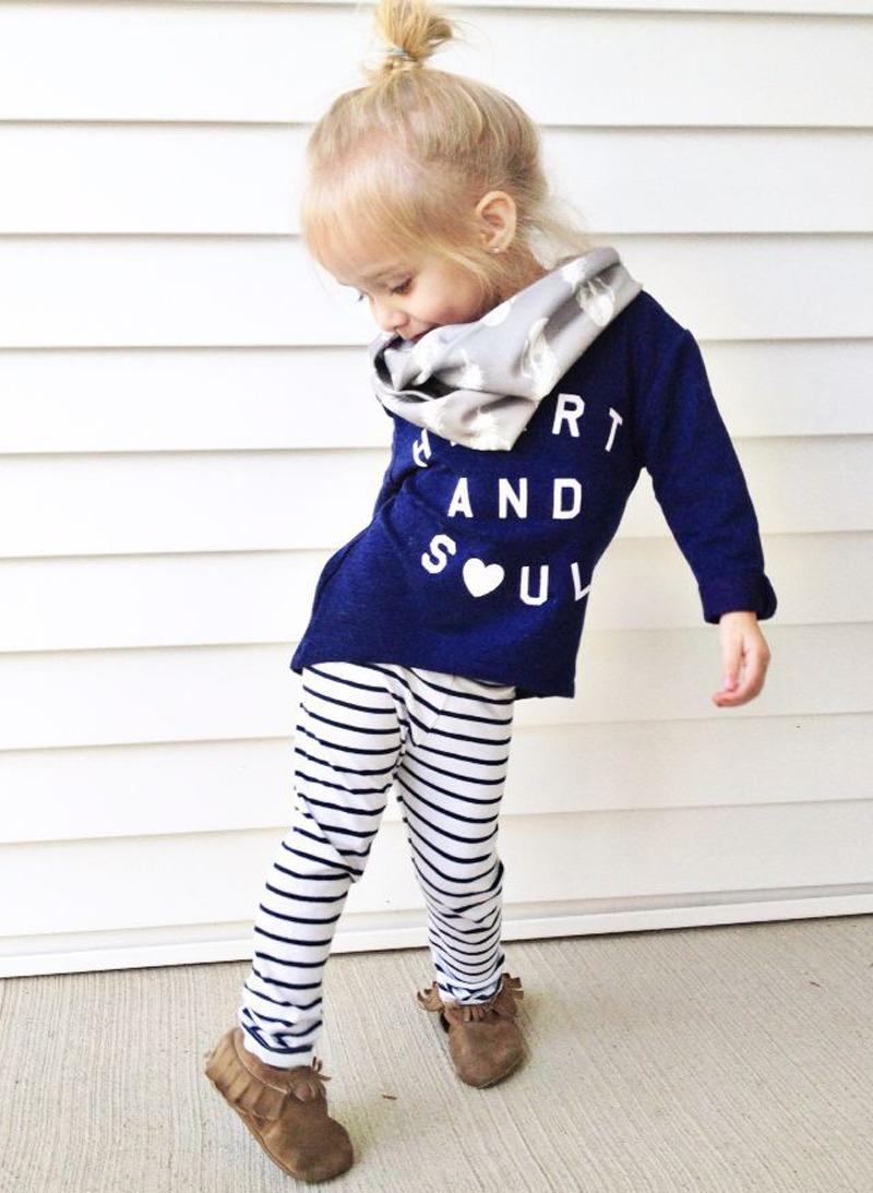 2PCS SET !!Fashion Baby Kids Girls blue Long Sleeved Cotton Shirt Blouse +striped  Leggings Outfits 1-6Y
