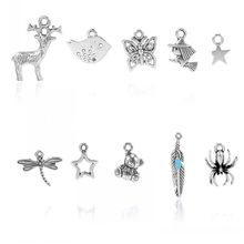 Charm Pendants Mixed Shape Antique Silver 28mmx5mm-11mmx9mm,50PCs (Z00035)(China (Mainland))