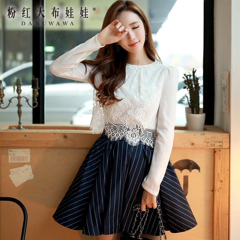Long sleeved shirt Girl Pink Doll 2016 new spring lace blouse slim white shirt to fight female