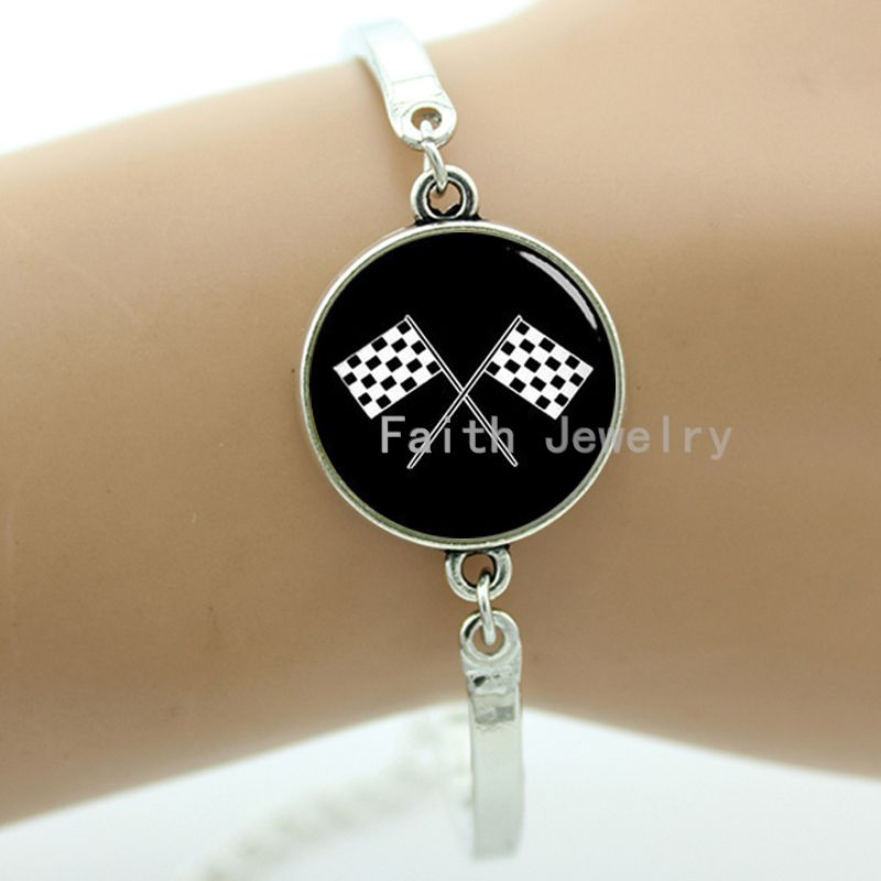New arrived fashion sporty racing font b chequered b font flag bracelet black and white checkered