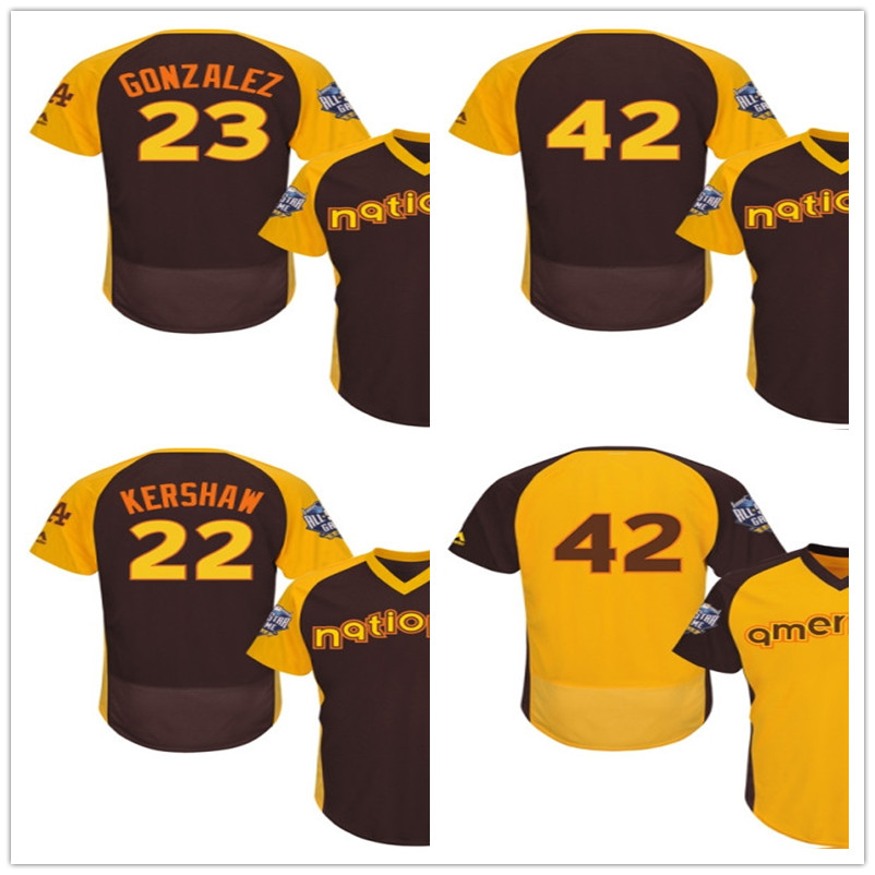 #42 Jackie Robinson Jersey 23# Adrian Gonzalez Jersey #22 Clayton Kershaw Jersey Yellow 2016 All-Star(China (Mainland))