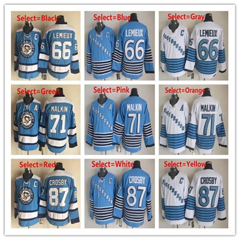 Mens Penguins 66 Mario Lemieux 71 Evgeni Malkin #87 Sidney Crosby Mens 1995 Throwback Winter Classic CCM Blue Hockey Jerseys(China (Mainland))