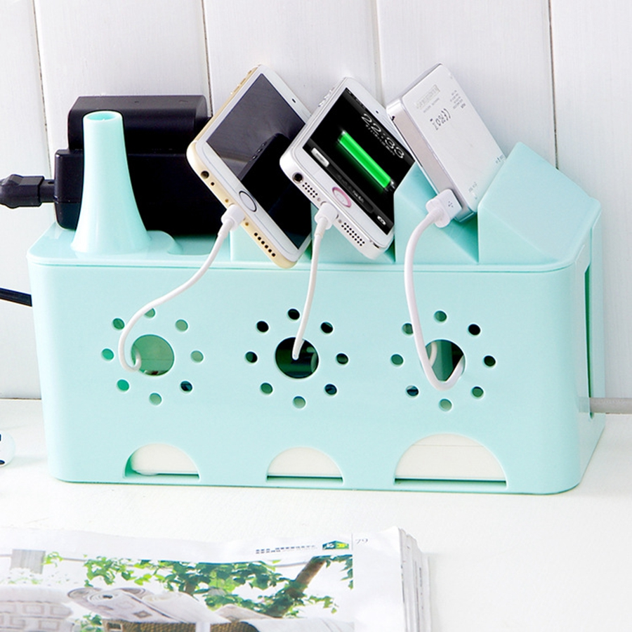 Candy Color Electrical Wire Cable Organizer Plastic Storage Box Socket Computer Cable Management(China (Mainland))