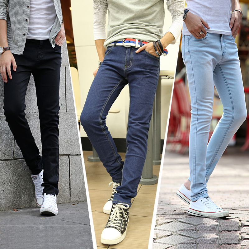 new2015 male trousers slim pencil pants boys jeans skinny. Black Bedroom Furniture Sets. Home Design Ideas