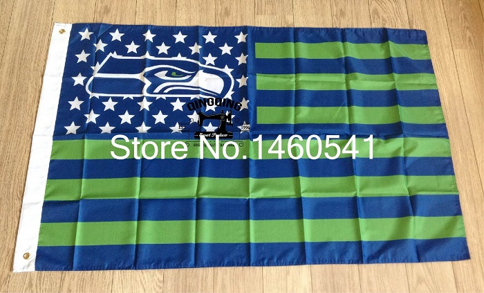 Seattle Seahawks with modified US Flag 3ft x 5ft Polyester NFL Banner Flying Size No.4 144* 96cm QingQing Flag(China (Mainland))