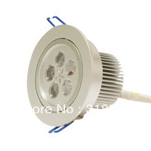 Free Shipping !!! 5W LED Ceiling Down Light 500-550LM LED AC85~265V Silver Housing Aluminum hold size 90-95mm