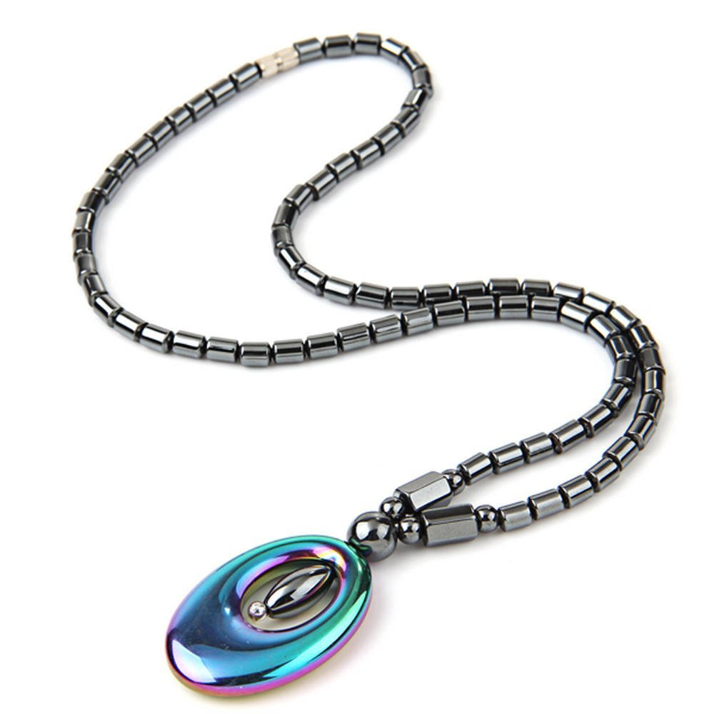 "Good Deal ! Black Hematite Gem Beads Oval Pendant Necklace 1.4x0.9"" HOT(China (Mainland))"