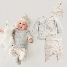 2016 Real Infants Spring Summer New Rabbit Tracsuit Toddlers Long-sleeved Cotton T-shirt Harem Pants Hats Three-piece Suit Sets(China (Mainland))
