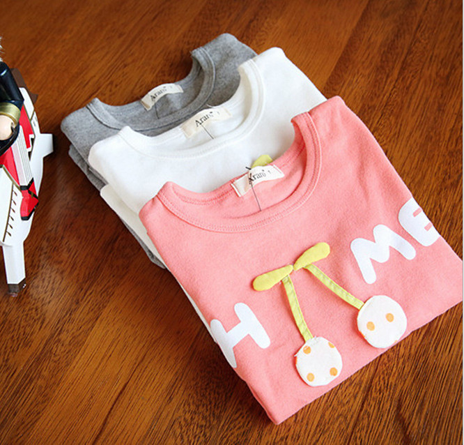 2015 spring new child clothing children tops tees girls long sleeve fruit cherry t shirt size