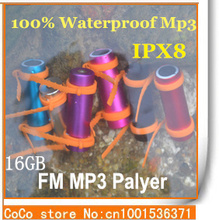 100% IPX8 Waterproof MP3 Player 16GB Sports Mp3/ swimming/ Running/ Surf / FM Radio MP3 headphone Player Free Shipping(China (Mainland))