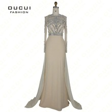 Real Photo Formal Long Sleeves Gown See Through Back Beading Handwork Prom Evening Dresses OL102345B(China (Mainland))