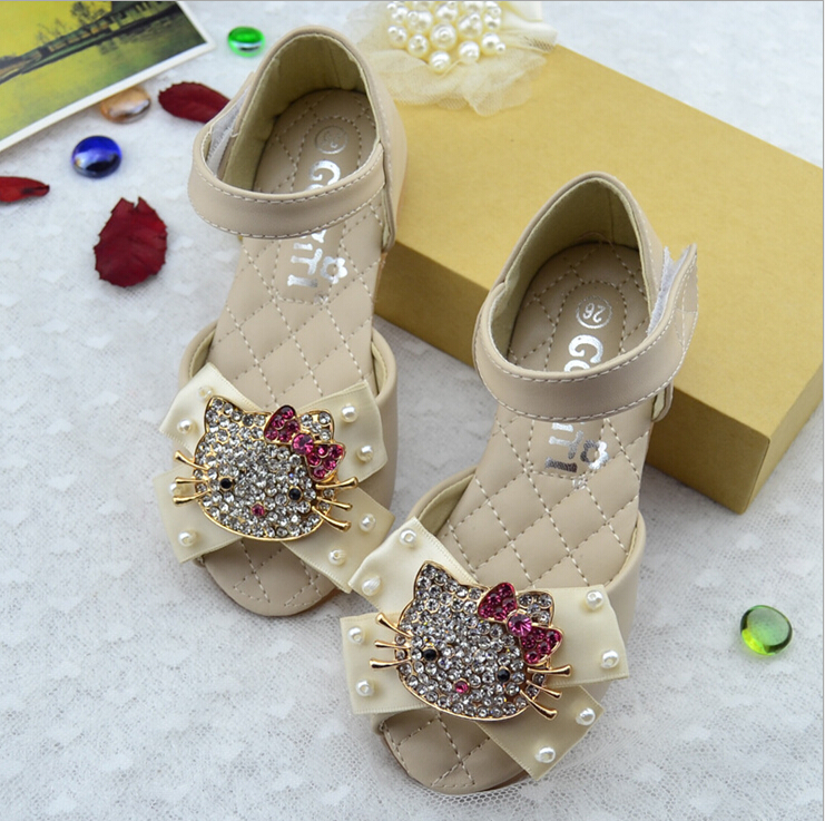 Lovely Cartoon Girls Fashion Sandals Genuine Leather Hello Kitty New Summer Spring 2016 Baby Shoes Princess CS3153(China (Mainland))