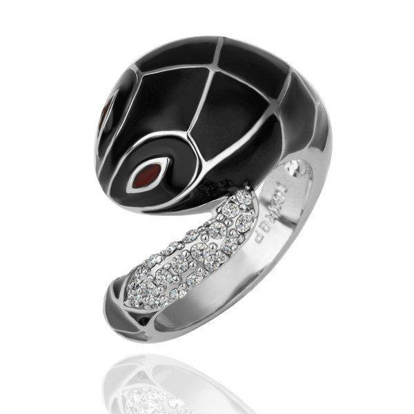 ZHOUYANG GP R092 BlackSnake Platinum Plated Ring Jewelry Nickel Free K GoldenPlatingPlatinumRhinestone Austrian Crystal  Element