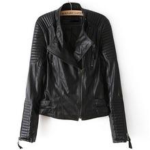 Leather Jacket Women Brand New Faux Soft women Leather Jackets Pu Black Blazer Zippers Coat Long Sleeve Motorcycle Outerwear()