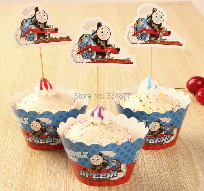 Cartoon Thomas cupcake wrappers toppers 24 PCS/LOT kids birthday party favors Cup Cake decorations picks Free Shipping (China (Mainland))