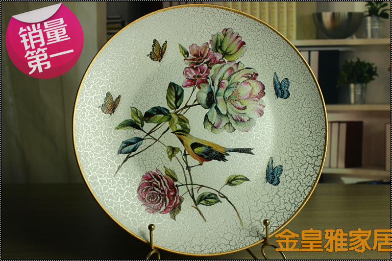 selling retro European style garden plate fashion decoration plate American country exhibition dish ceramic craft gifts(China (Mainland))