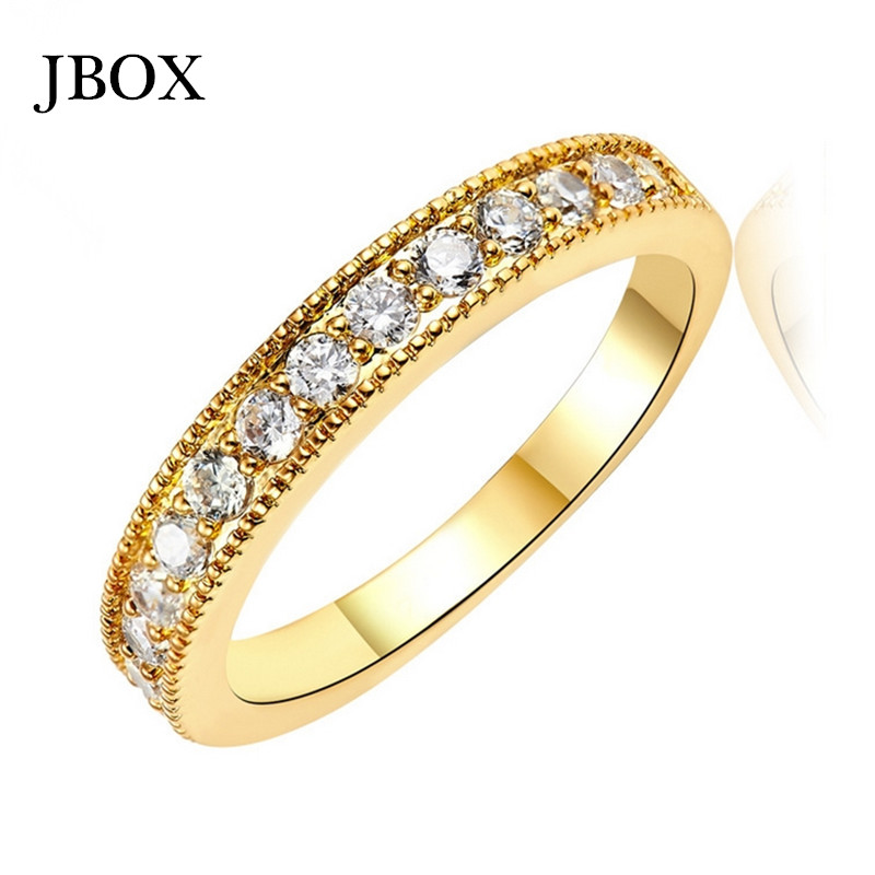 UJBOX Wholesale Gold Plated Wedding Rings For Women Round CZ Diamond Rings Bridal Jewelry High Quality R176TJ(China (Mainland))