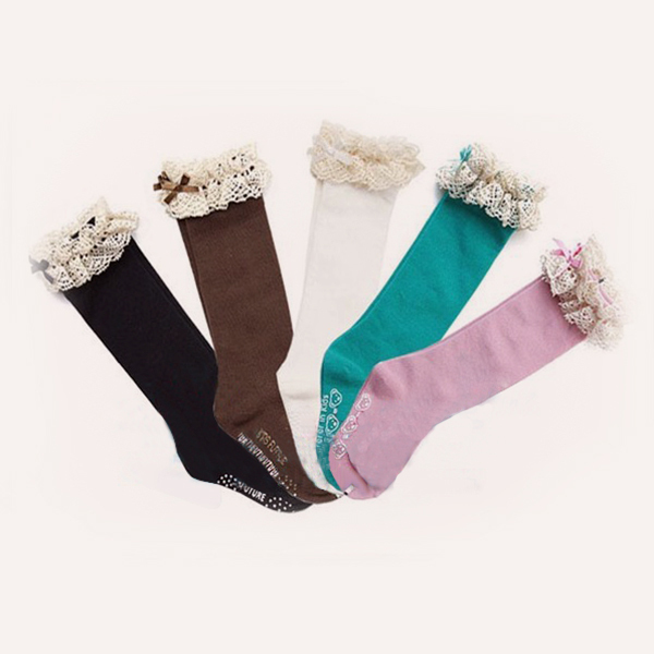 Гаджет  New Kids Baby Girls School Lace Cotton High Knee Tights Socks 5 Colors None Детские товары