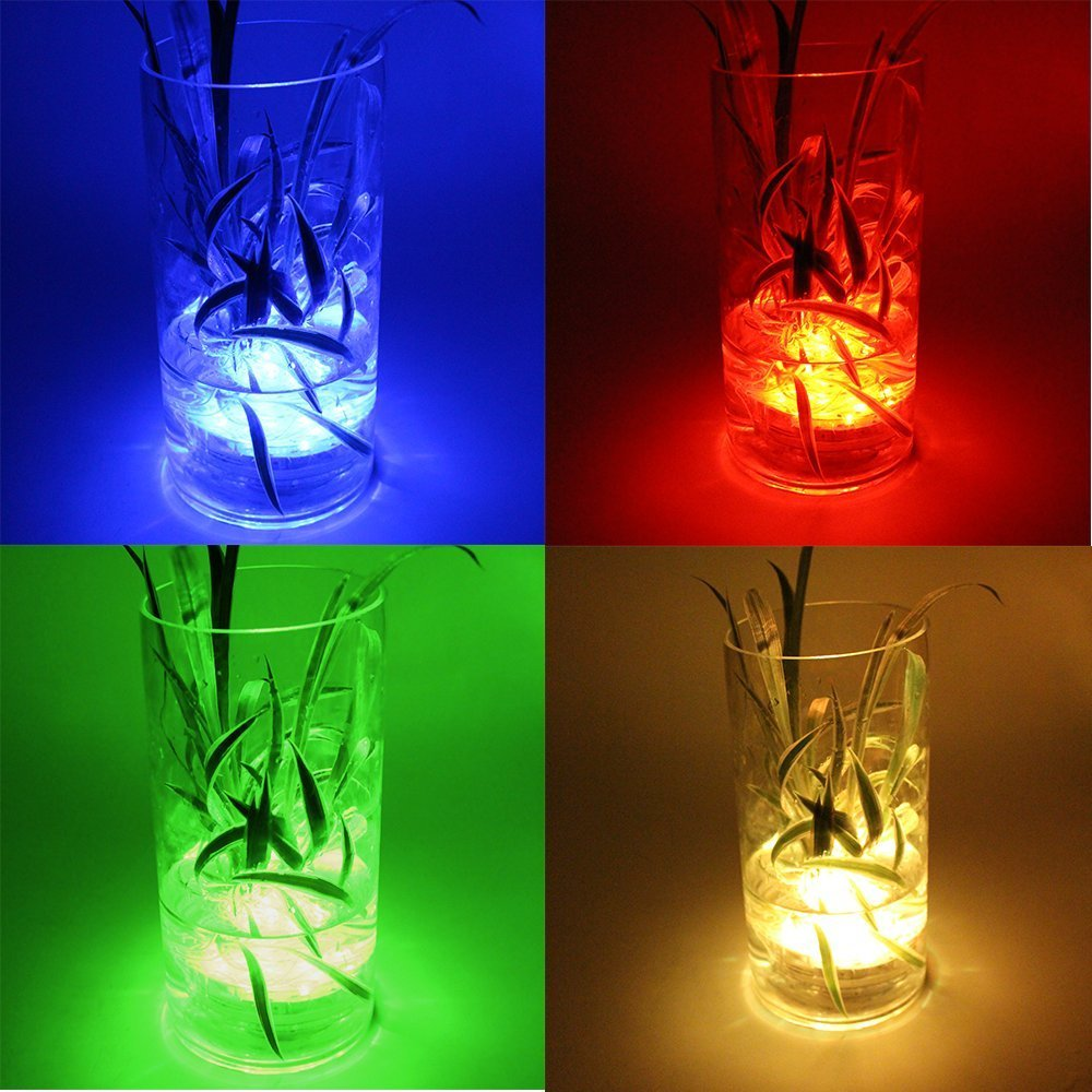 Remote Controlled Submersible Vase Pool Decoration Lamp 10 LED RGB Waterproof Lights For Wedding Holiday Party Decor