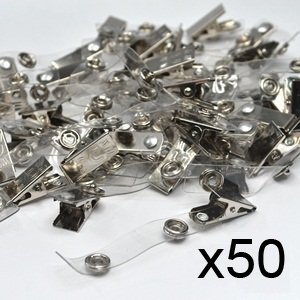 Pack of 50 Pcs Metal Clips with Clear Vinyl Straps/snaps for Id Badge Holder(China (Mainland))