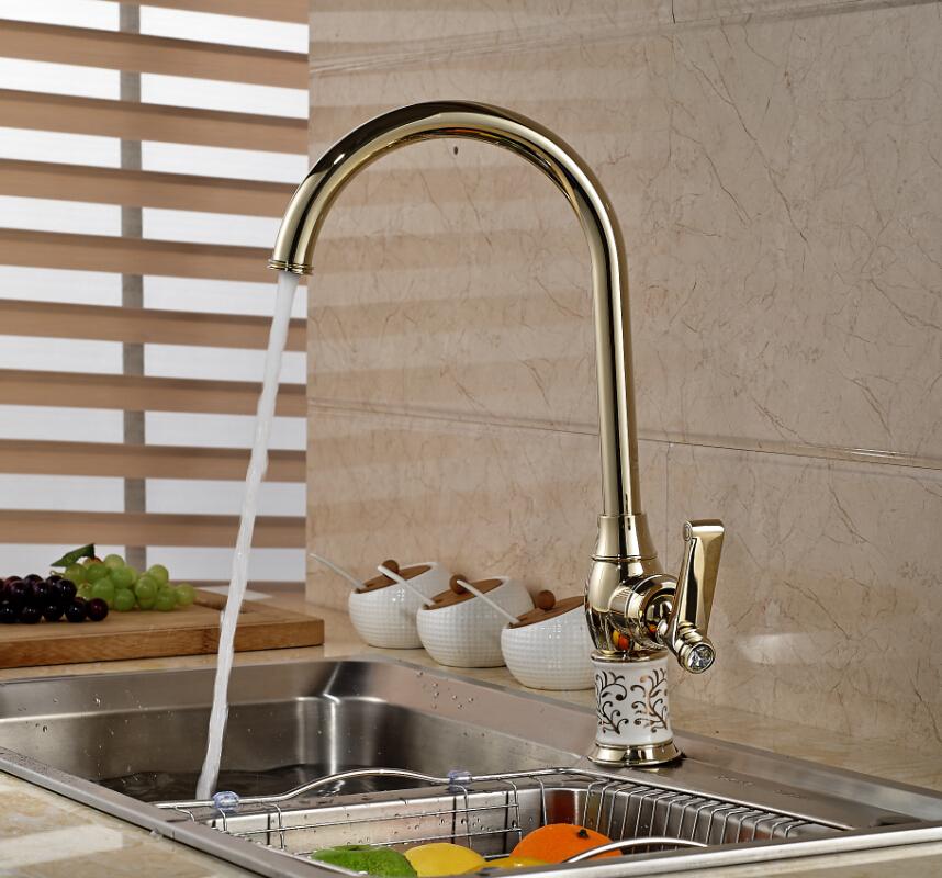 Здесь можно купить  Luxury Blue and White Porcelain Base Kitchen Sink Faucet Single Lever One Hole Mixer Taps Golden  Дом и Сад