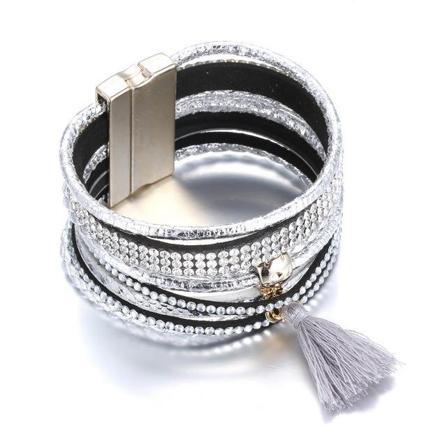 Мода Кожаный Браслет с магнитом Застежка Шарм Браслеты Браслеты Для Женщин Мужчины серебристый цвет wrap браслет ручной работы