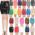 2016 Spring Autumn Fashion Women Skirts PU faux leather skirts tight stretch female short pencil mini