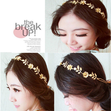 Vintage Wedding Hair Accessories Gold Elastic Romantic Olive Branch Leaves Flower Head Bands Hair Accessories bijoux de tete(China (Mainland))