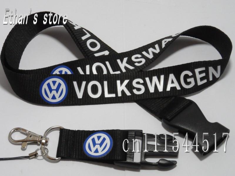 Removable Volkswagen Lanyard CAR Black VW lanyards id badge holder(China (Mainland))