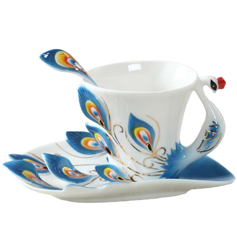 Peacock Coffee Mug Cup Ceramic Creative Cup Bone China 3D Color Enamel Porcelain Saucer Spoon Coffee Tea Sets Gift(China (Mainland))