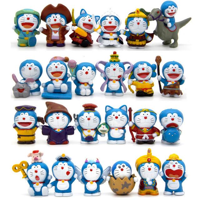 24 шт./лот Doraemon цифры 4 см Doraemon фигурку игрушки куклы подарок для детей бесплатная доставка
