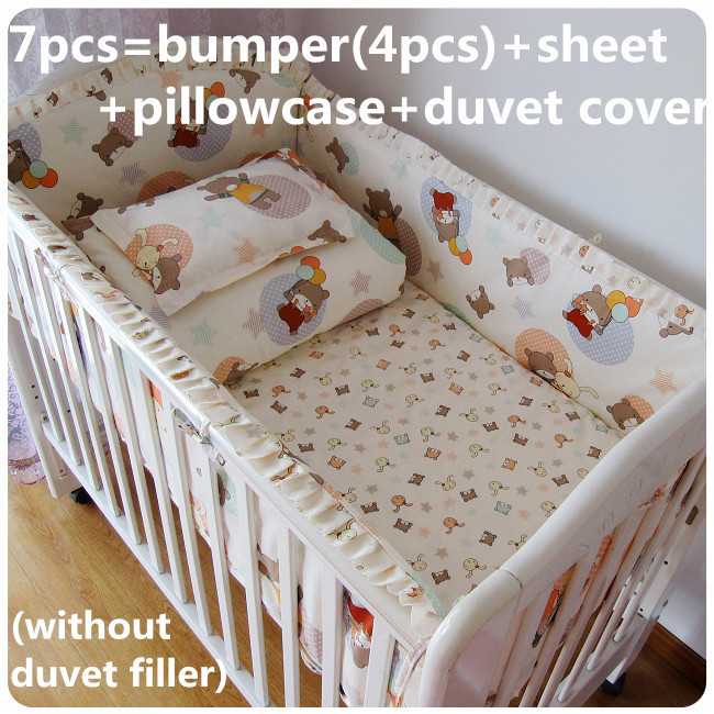 Promotion! 6/7PCS 100% cotton baby bedding set curtain berco cot bumpers ,120*60/120*70cm<br><br>Aliexpress