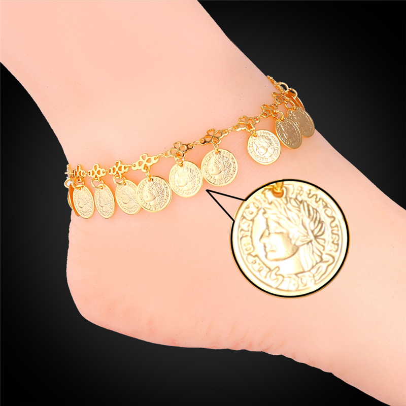 Round Queen Coin Anklet Bracelet For Women Gift 18K Real Gold/Platinum Plated Barefoot Sandals Anklet Bracelet On Leg IA930(China (Mainland))
