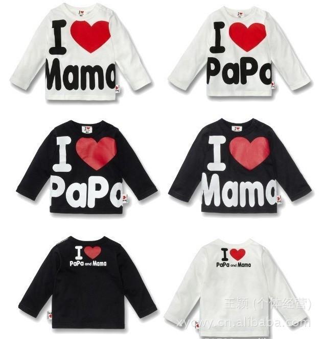 Retail ! I Love Papa & Mama ,Spring autumn Baby Kids 100% Cotton Shirts T-shirt Boys Girls Long Sleeve Tops Tees(China (Mainland))