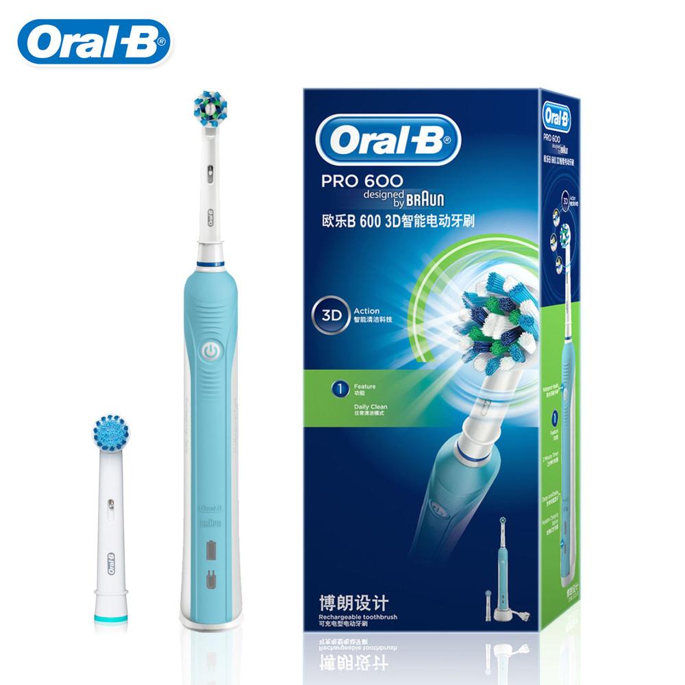 D16523 Adulto Clareamento Dos Dentes Oral B escova de Dentes Elétrica Recarregável 1 Titular + 2 Cabeças de Rosa/Azul