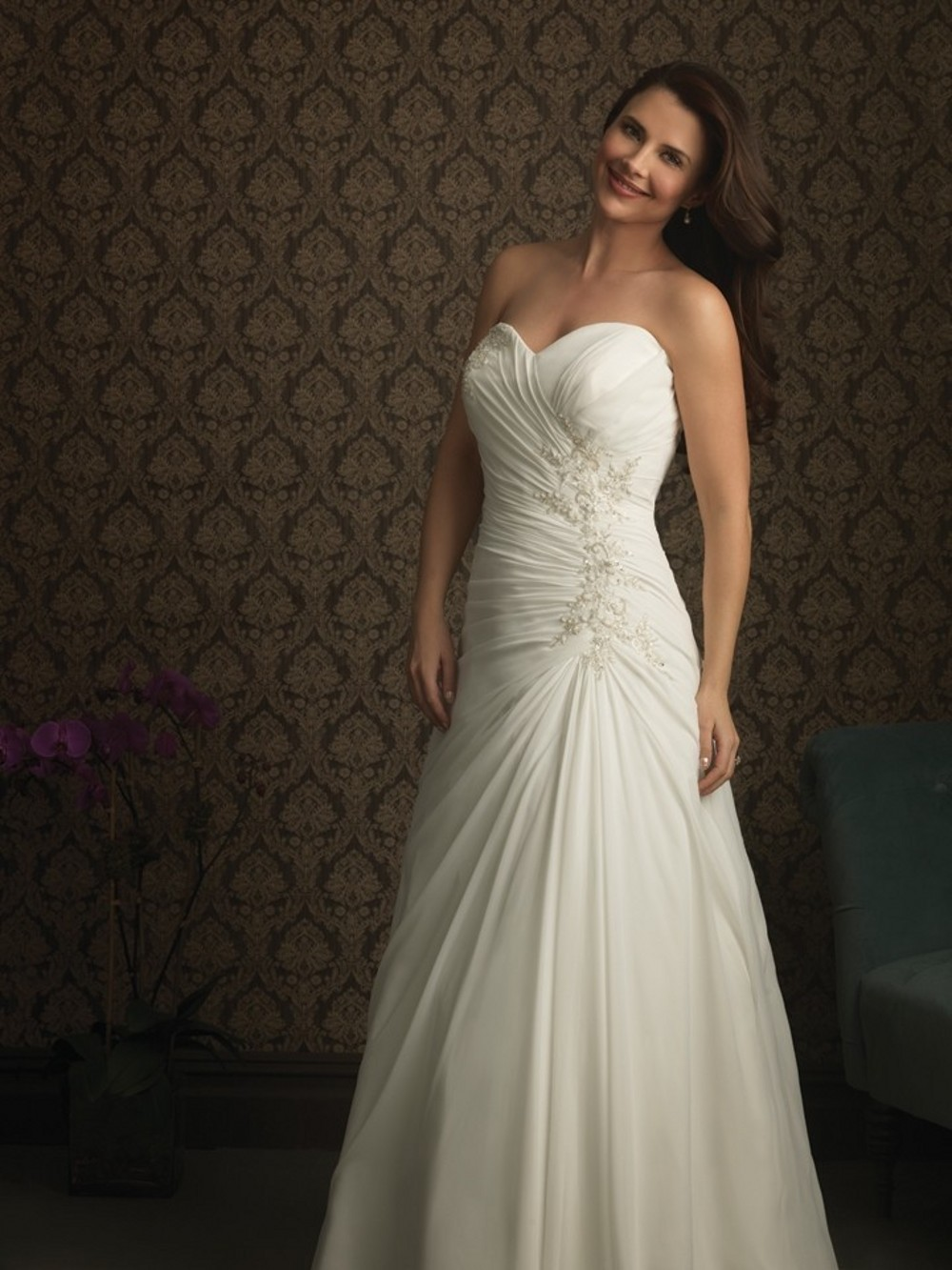Vestido De Noiva 2015 Sexy Plus Size Sweetheart Strapless Long Chiffon Weddin