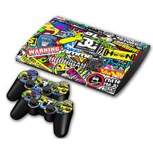 1Set Vinyl Decal Skin Sticker for PS3 Super Slim 4000 Console Skins+2PCS Stickers for PS3 Controller Joystick Gampad Video Games