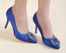 HOT!2015 New High Heels Women Pumps High Quality Manolos Wedding Shoes Jeweled Rhinestone Satin Pumps 6 colors(China (Mainland))
