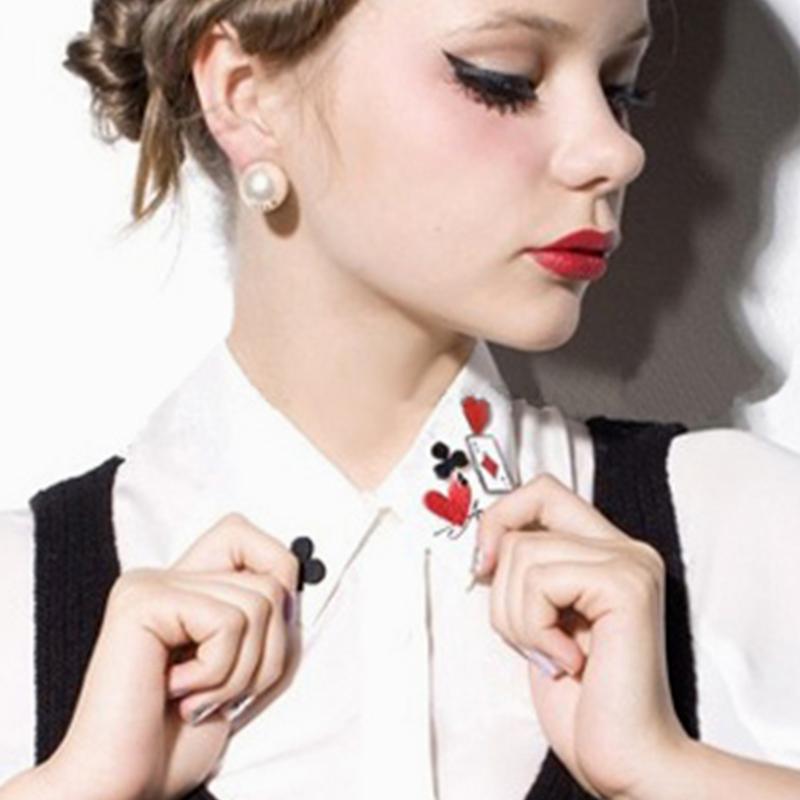 4025 fashion personality fashion poker fancy small brooch collar small pin(China (Mainland))