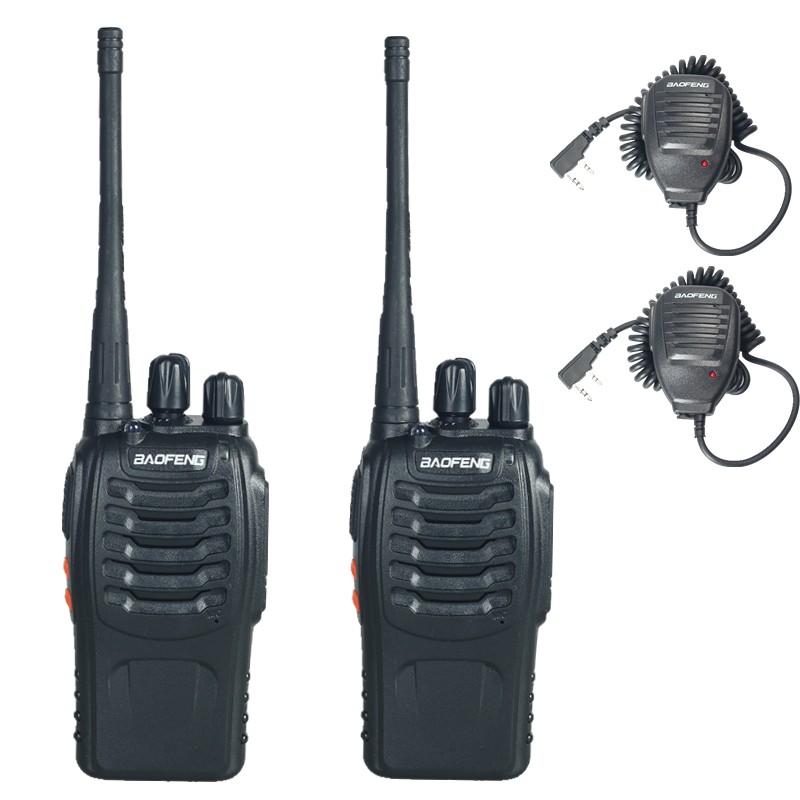 2PCS BF-888s BaoFeng Walkie Talkie and 2PCS Handheld Microphne product mix 5W Dual-Band 400 ~ 470MHz FM Ham Two-way Radio(China (Mainland))
