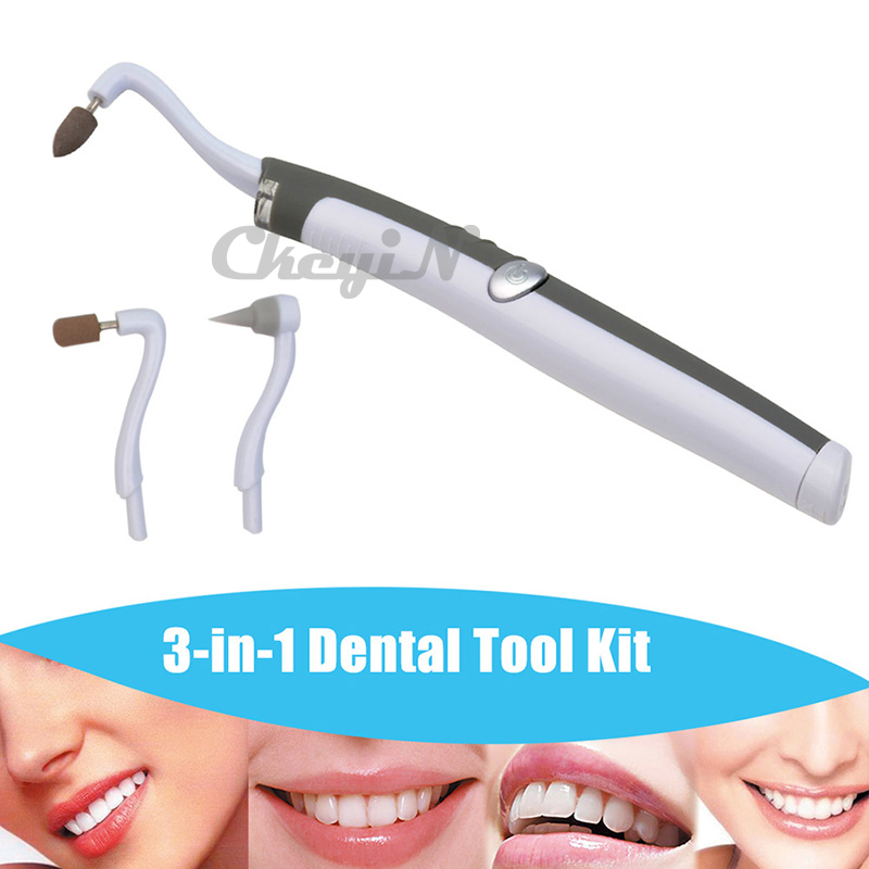 New Electric LED Tooth Stain Eraser Plaque Remover with 3pcs Heads Professional Dental Equipment Teeth Whitening Tools KQ2_2535(China (Mainland))