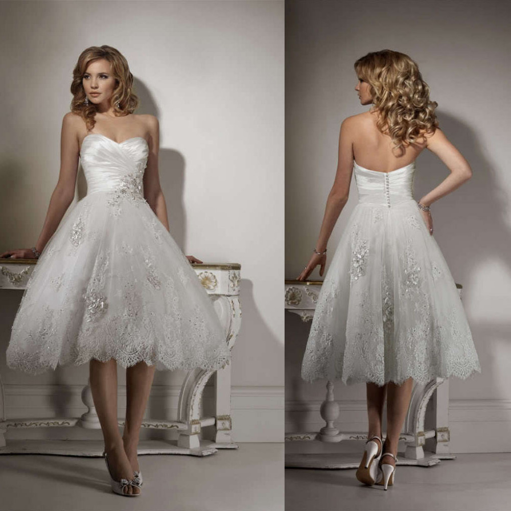 Mid calf wedding dresses bridesmaid dresses sleeves for Calf length wedding dresses
