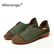 Whensinger 2016 Women Shoes Female Genuine Leather Loafers Stitched Casual Slip-On Solid Round Toe Characteristic Fashion 988