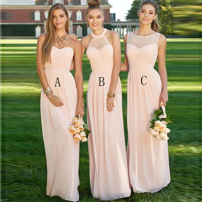 Elegant Long Light Pink Bridesmaid Dress 2017 Halter Pleat Chiffon Bridesmaid Dresses Peach Cheap Bridesmaids Dresses