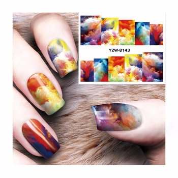 WUF 1 Sheet Watermark  Stickers Nail Art Water Transfer Tips Decals   Beauty Temporary Tattoos Tools  8143