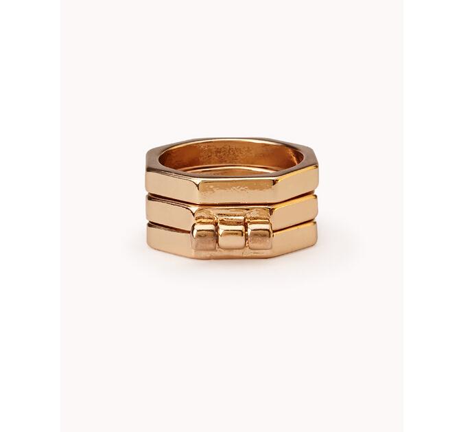 Momo 18K gold plated 3-Row Stacaking Ring Set- Folding Ring 1.7cm unmounted ring settings(China (Mainland))