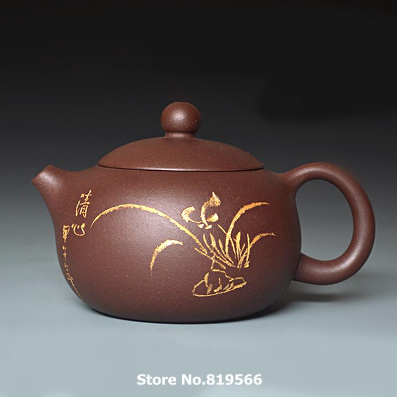limited Handmade Yixing purple Clay Teapot 280ml Real Chinese Zisha Sand Kung fu Tea Set Gold Painting Classical Gift Xishi Pot(China (Mainland))