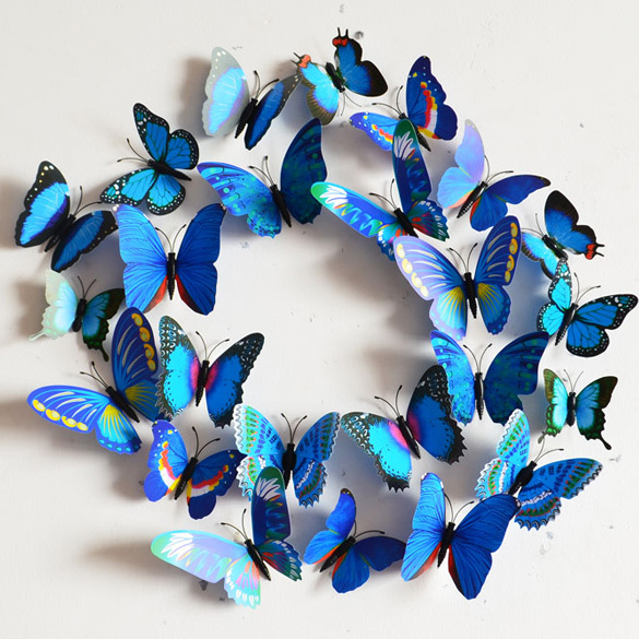 Creative Vivid Butterfly Style Popular Decal Wall Stickers Home Decor Room Decorations 3D Free Shipping K5BO(China (Mainland))