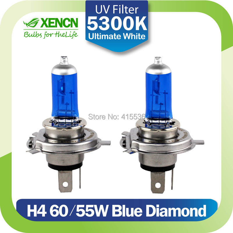 New XENCN H4 12V 60/55W 5300K Xenon Blue Diamond Car Light More Bright UV Filter Halogen Super White Head Lamp Free Shipping(China (Mainland))