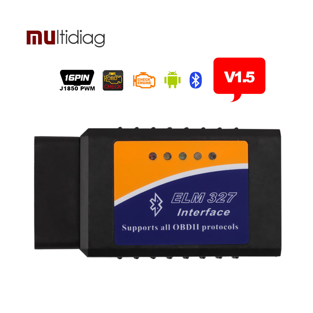 ELM327 Bluetooth OBDII v1.5 ELM 327 OBD2 Adapter OBD 2 Scanner Auomotive CAN Bus Scan Tool Scaner Automotriz Code Reader(Hong Kong)